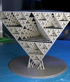 Equilateral Fractal Sierpinski Pyramid- Math Art by Dizingof Fractal Geometry, Math Art, Fractals, 3d Printing, Sculpture, Prints, Ideas, Impression 3d, Sculptures