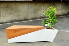 Outdoor wood + glass fiber concrete bench/planter