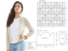 Cardigan Au Crochet, Crochet Poncho Patterns, Crochet Coat, Crochet Jacket, Crochet Cardigan, Crochet Clothes, Beau Crochet, Pull Crochet, Diy Crochet