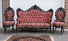 Opulent Victorian J JW Meeks Hawkins Parlor Set Victorian Couch, Victorian Furniture, Victorian Decor, Victorian Homes, Victorian Era, Antique Furniture, Furniture Decor, Vintage Sofa, Vintage Home Decor
