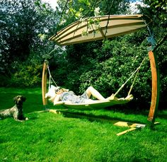 Super comfortable Hertfordshire Hammocks created from curved English Oak.