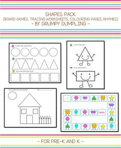 Shapes Pack (Tracing Worksheets, Colouring Pages, Board Ga