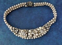 Vintage Louis Rousselet Glass Pearl & Rhinestone Necklace - Made in France