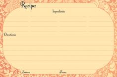 Blank Printable Recipe Card   Different Designs Editable