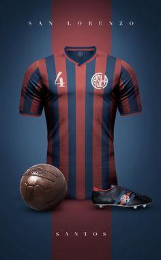 Club Atlético San Lorenzo de Almagro - Vintage clubs on Soccer Kits, Football Kits, Sport Football, Football Jerseys, Retro Football, World Football, Vintage Football, Jersey Retro, Camisa Retro