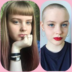 This Vaseline Trick Can Help You Remove Unwanted Hair. Shaved Head Women, Bald Head Women, Shaved Head Girl, Tone Hair At Home, Buzz Cut Women, Buzz Cuts, Vaseline For Hair, Long Hair Cut Short, Cool Haircuts For Girls