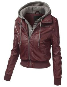 Chic Hooded Long Sleeve Faux Twinset Pocket Design Jacket For Women