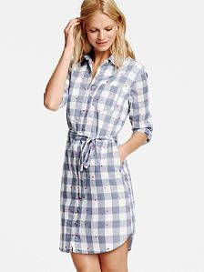 Boyfriend Shirtdress - plaid, medium
