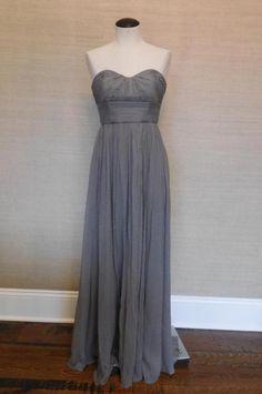 Jcrew Silk Chiffon Marbella Gown 365 0 B7679 Graphite Gray Long Dress Empirewaist