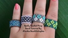 Seed bead jewelry Spiffy Beaded Ring Band ~ Seed Bead Tutorials Discovred by : Linda Linebaugh Seed Bead Tutorials, Jewelry Making Tutorials, Beading Tutorials, Beading Ideas, Anel Tutorial, Bracelet Tutorial, Seed Bead Jewelry, Seed Beads, Beaded Jewelry