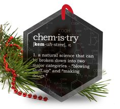 Chemistry Definition Funny Glass Christmas Ornament