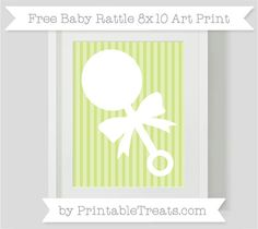 Free Pastel Lime Green Striped Baby Rattle 8x10 Art Print