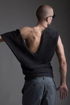 Men's Nom de Guerre Shorts, Vintage Men's Issey Miyake Knit Top. Designer Clothing Dark Minimal Street Style Fashion