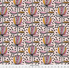 Mod Floral Fabric  Memphis Garden By Kirstenkatz  Memphis