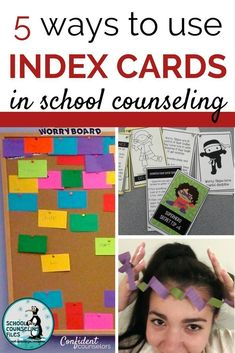5 Ways to Use Index Cards in School Counseling Using common materials for counseling activities just got easier with these recommendations from Laurie Mendoza, School Counseling Files. Check out her worry boards, power cards, microbooks, smile files, and problem solving challenges. http://confidentcounselors.com/2017/10/30/5-ways-index-cards-school-counseling/
