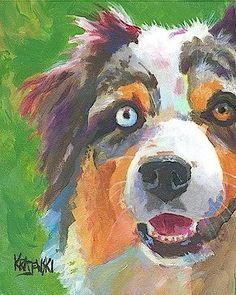 Australian-Shepherd-Dog-8x10-signed-art-PRINT-painting