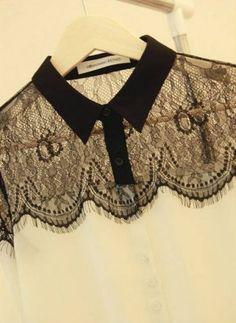Camisa feminina chiffon e renda
