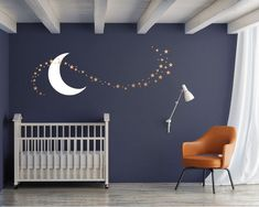 Moon and Stars Nursery Wall Decal Set, includes 68 Star wall decals in assorted sizes and 1 Moon Decal, Great Space Theme Wall Decor, Star Themed Nursery, Star Nursery, Nursery Themes, Nursery Decor, Moon Nursery, Nursery Wall Decals, Nursery Room, Accent Wall Nursery, Baby Room Design