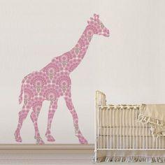 Great Pink Giraffe Wallpaper Wallsticker