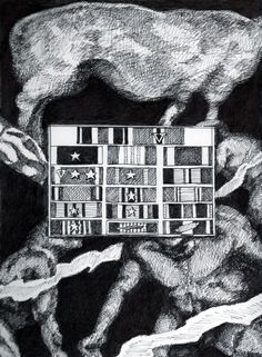 """Ron Laboray-""""Behind Oliver North's war ribbons we witness through the Law of Superposition that the first appearance of Aqua-man came before the first genetically modified animal."""" Image 11.5""""x8.5"""" Acid free ink on 11x14"""" Bristol paper. 2016"""