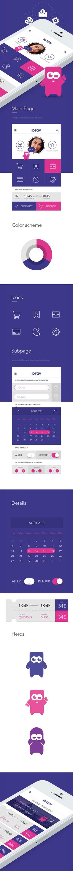 Design proposition application #mobile IDTGV, IOS7. If you like UX, design, or design thinking, check out theuxblog.com