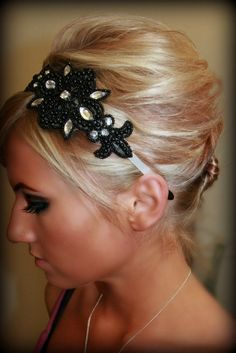 Goth Girl Black Beaded Rhinestone Headband by BrassLotus on Etsy, $25.95