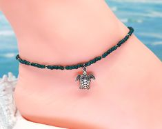 Silver turtle anklet, blue ankle bracelet, turtle jewerly, beach anklet, gift under 30 Boot Bracelet, Anklet Bracelet, Boot Jewelry, Turtle Jewelry, Boot Bling, Boho Boots, Beach Anklets, Beach Bracelets, Thing 1