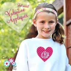 So adorable for Valentine's Day!  Monogrammed applique heart!  LOVE!  www.girlygearshop.com