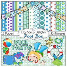Pool Boy Digital Scrapbook Kit w Swimming by DigiScrapDelights. $5.00 USD, via Etsy. @ http://www.etsy.com/listing/99684479/pool-boy-digital-scrapbook-kit-w