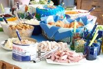 Potato and Salad Bar for a baby shower.  Mother to be had gestational diabetes.  It was an Aquarium themed party.