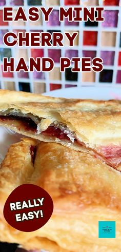 Easy Mini Cherry Pies. Crispy puff pastry filled with cherry preserve, these little hand pies are quick and easy to make. Delicious served warm with ice cream for dessert or on their own as a snack Best Dessert Recipes, Easy Desserts, Sweet Recipes, Real Food Recipes, Delicious Desserts, Keto Desserts, Pie Recipes, Dinner Recipes, Mini Cherry Pies