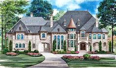 Luxury Style House Plans - 12268 Square Foot Home, 3 Story, 5 Bedroom and 6 3 Bath, 5 Garage Stalls by Monster House Plans - Plan 63-178