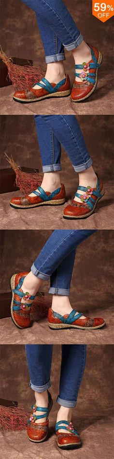 SOCOFY Hook Loop Genuine Leather Pattern Flat Sandals Comfy Shoes, Cute Shoes, Comfortable Shoes, Me Too Shoes, Casual Shoes, Splendid Shoes, Leather Pattern, Shoes Online, Flat Sandals