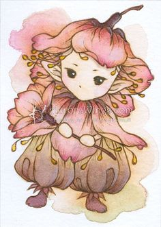 Open Edition ACEO Print - cerezos en flor caprichosa Sprite - linda Sakura pequeña hada en tonos de rosa - Fantasy Art por Mitzi Sato-Wiuff