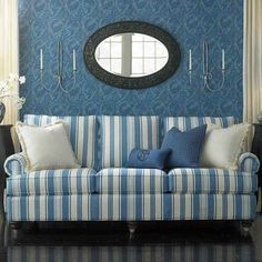 Eye Catching Blue And White Stripes Sofa Slipcover Pattern