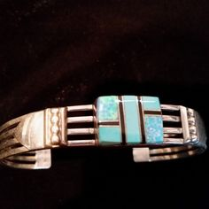 Vintage Old Pawn Navajo Turquoise & Opal Inlay Sterling Silver Cuff Bracelet