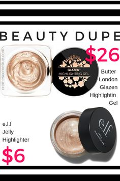 Drugstore Makeup Dupe: e. Jelly Highlighter Drugstore Makeup Dupe: e. Jelly Highlighter for Butter London Glazen Highlighting Gel. This won't settle in wrinkles like a powder! Best Elf Makeup, Drugstore Makeup Dupes, Cute Makeup, Eyeshadow Makeup, Makeup Cosmetics, Best Makeup Products, Eyeliner, Revlon Eyeshadow, Skincare Dupes