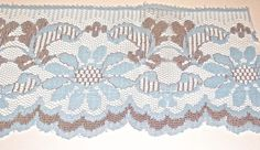 "VINTAGE LIGHT BLUE & BROWN FLORAL SCALLOPED LACE 3.75"" WIDE-NEW OLD STOCK UNUSED #Unbranded"