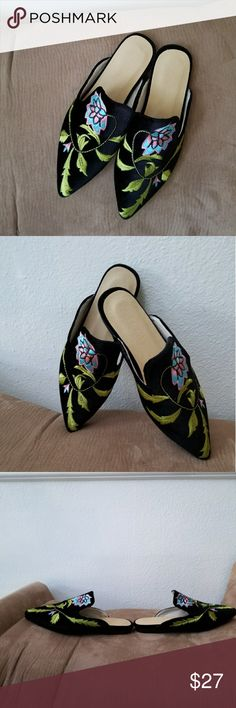 Black Floral Embroidered Loafers/Slippers Black Floral Embroidered Loafers/Slippers. Faux leather pointed toe.  Pre-owned in very good condition. Super Chic Shoes Flats & Loafers