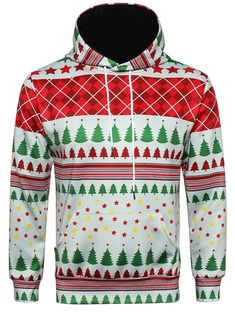 e7d31ad3d9f9 Hooded Christmas Tartan Star Print Pullover Hoodie - COLORMIX L