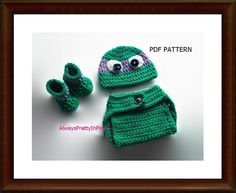 Crochet Ninja Turtle Diaper set includes instructions for diaper cover, hat and booties. Very quick and east to follow directions. Sizes 0-3/3-6Months. Perfect for baby prop pictures or a wonderful baby shower gift for any new mother.  | Shop this product here: spree.to/bfbs | Shop all of our products at http://spreesy.com/SabbysPlace32    | Pinterest selling powered by Spreesy.com