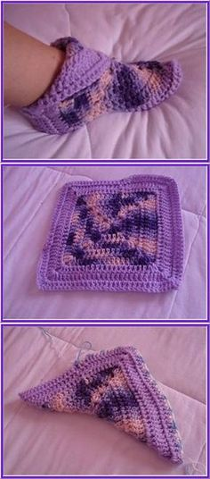 Transcendent Crochet a Solid Granny Square Ideas. Inconceivable Crochet a Solid Granny Square Ideas. Crochet Slipper Pattern, Crochet Socks, Crochet Clothes, Knit Crochet, Knitting Socks, Free Crochet, Baby Knitting, Easy Crochet Slippers, Crochet Squares