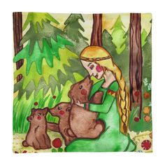 Magical and whimsical Goddess Mielikki and the Bears All-Over Print Basic Pillow Case. In Finnish mythology Mielikki is the goddess of forest, hunt, animals, healing and abundance. Click image for more.