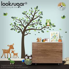 Hey, I found this really awesome Etsy listing at https://www.etsy.com/listing/104033267/children-wall-decal-with-owl-tree-birds