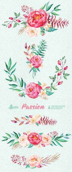 Passion 6 Watercolor Bouquets hand painted clipart by OctopusArtis