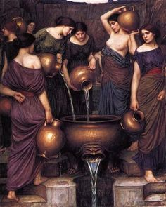 John William Waterhouse [English Pre-Raphaelite Painter, 1849-1917]. The Danaides 1906