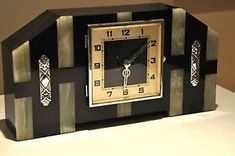 art deco clock | 1920s-French-ART-DECO-Geometric-Mantel-Clock-Chrome-Green-Onyx-Black ...