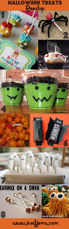 Fantastic ideas for DIY Halloween Treats. Loving the spider lolly and the bat chocolate bars! Great for getting the kids to 'help' with party preparations!