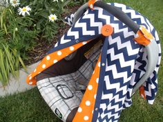 Carseat Canopy Carseat Cover Navy Orange Dot by fashionfairytales, $38.99... need one of these!