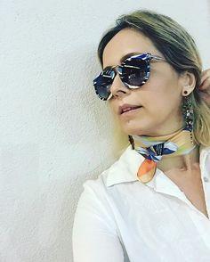 Saindo de óculos #pucci para a @opticaitamaraty - lindo! Adorei as cores! ❤️ #oculosdesol #itamaraty #andreafialho #estiloandreafialho